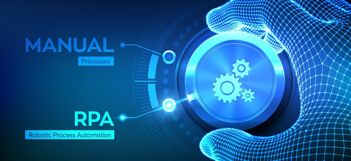 RPA Robotic process automation innovation technology concept. Wireframe hand turning a knob and selecting RPA mode. Intelligent system automation. AI. Artificial intelligence. Vector illustration